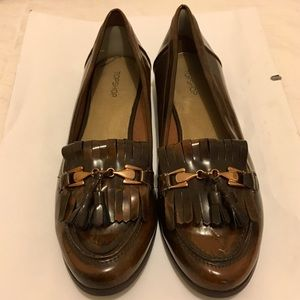 Topshop Patent Leather Tassel Loafers